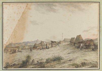 Vue d'un village et mission de saint-Joseph en Californie